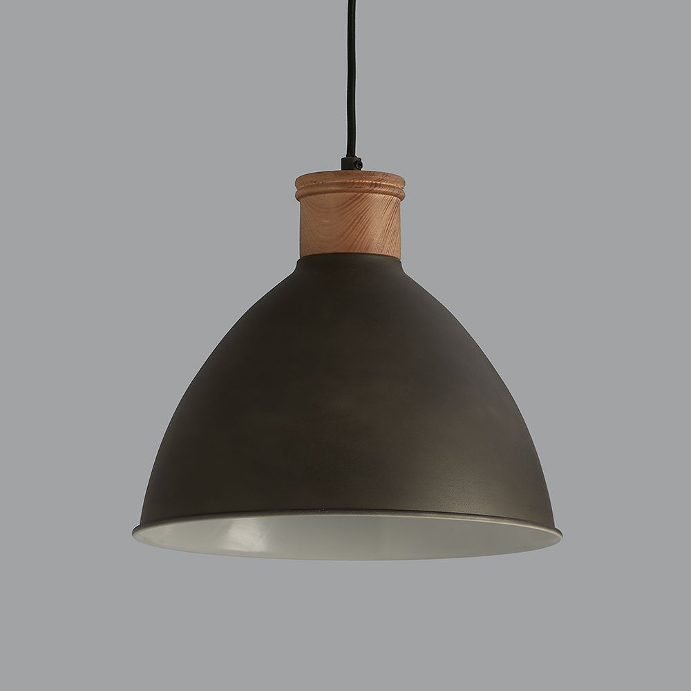 Cement Grey And Wood Pendant Light