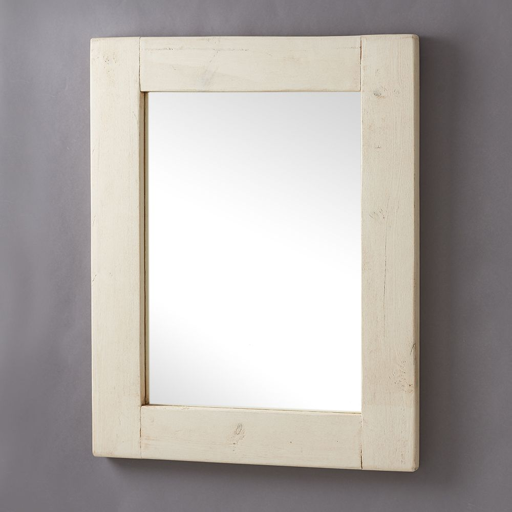 Chunky white old wood framed mirrors for Wood framed mirrors