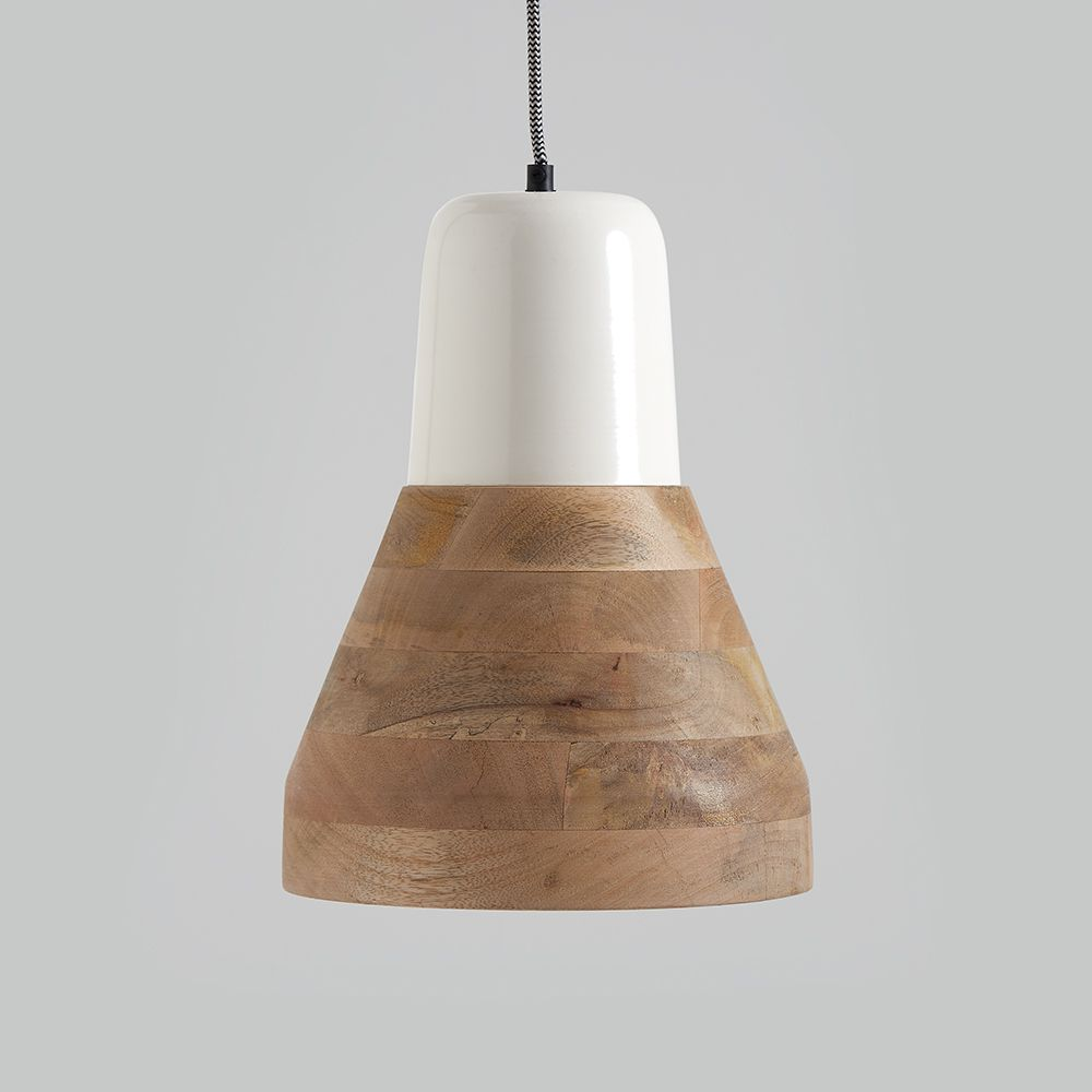Reykjav K White And Wood Pendant Light