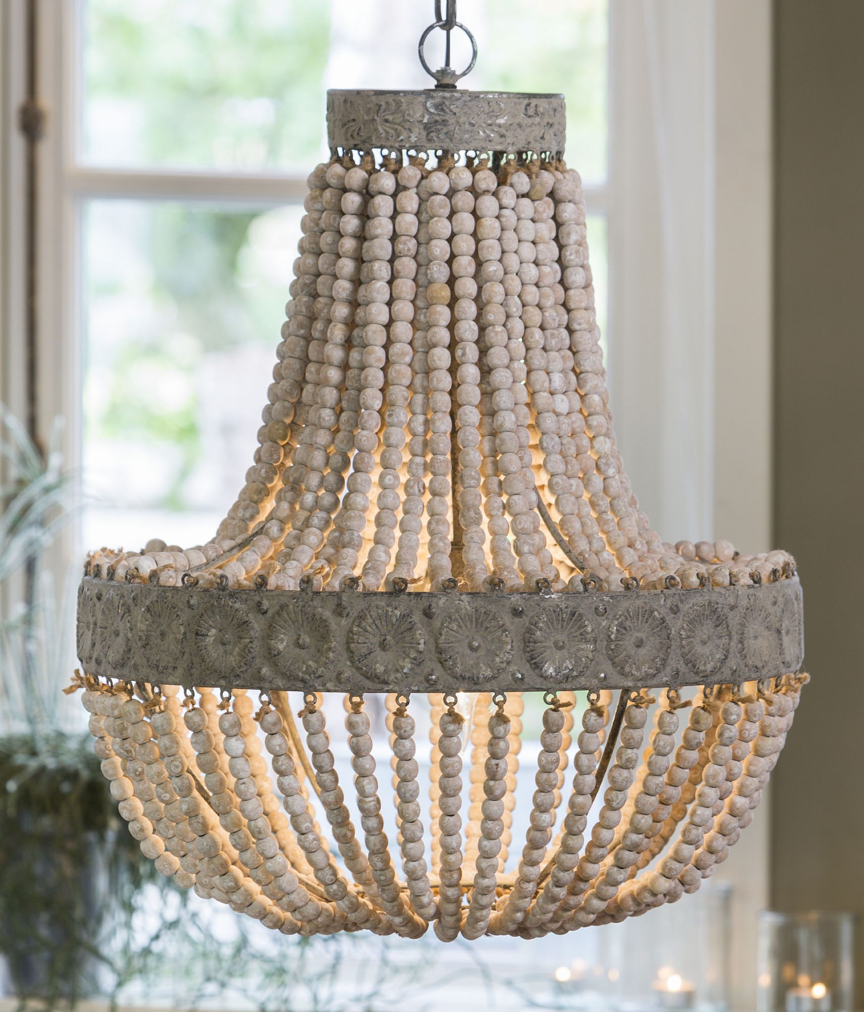 Anvers wooden bead chandelier mozeypictures Choice Image