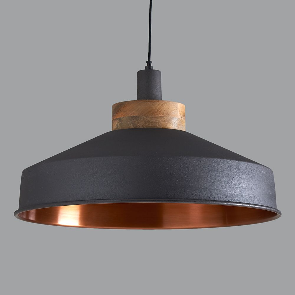 Bjvb Three Vintage Industrial Wood Pendant Lamp Bedroom: Cosmos Graphite And Copper Pendant Light