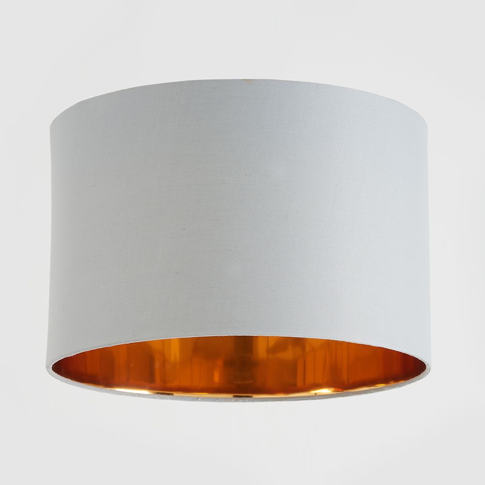 Grey And Copper Drum Lampshade