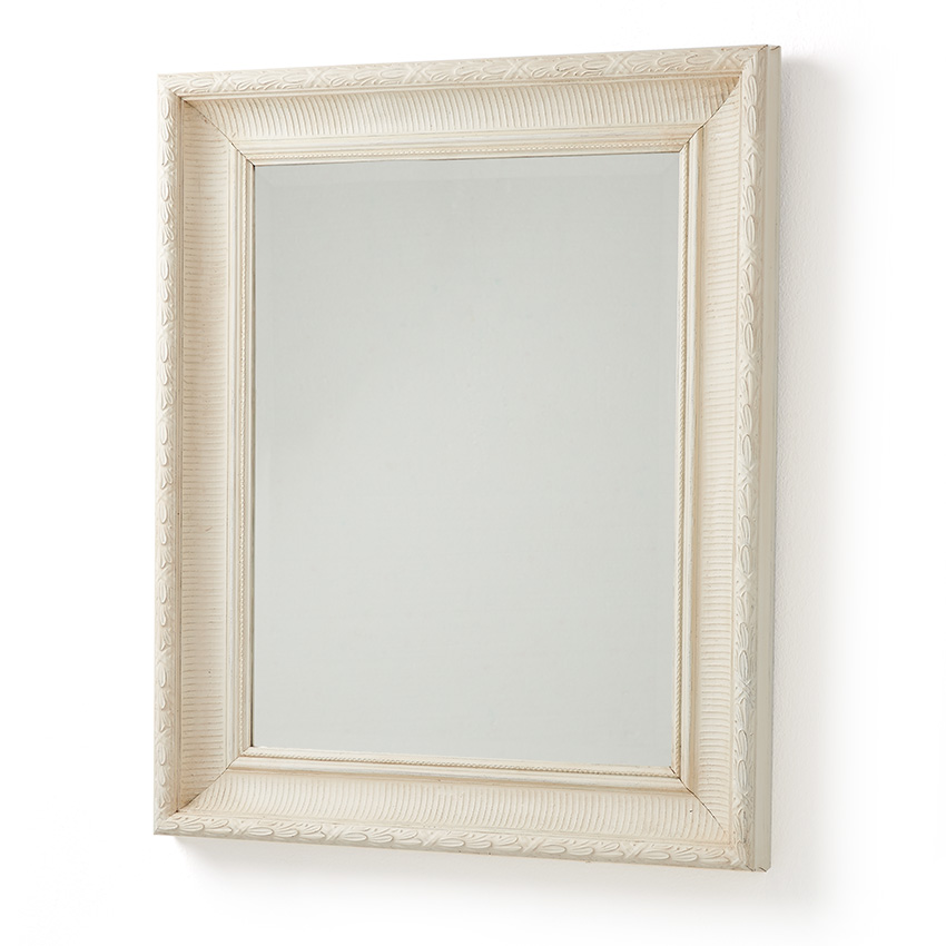 Handmade White Leaf Old Wood Framed Mirror